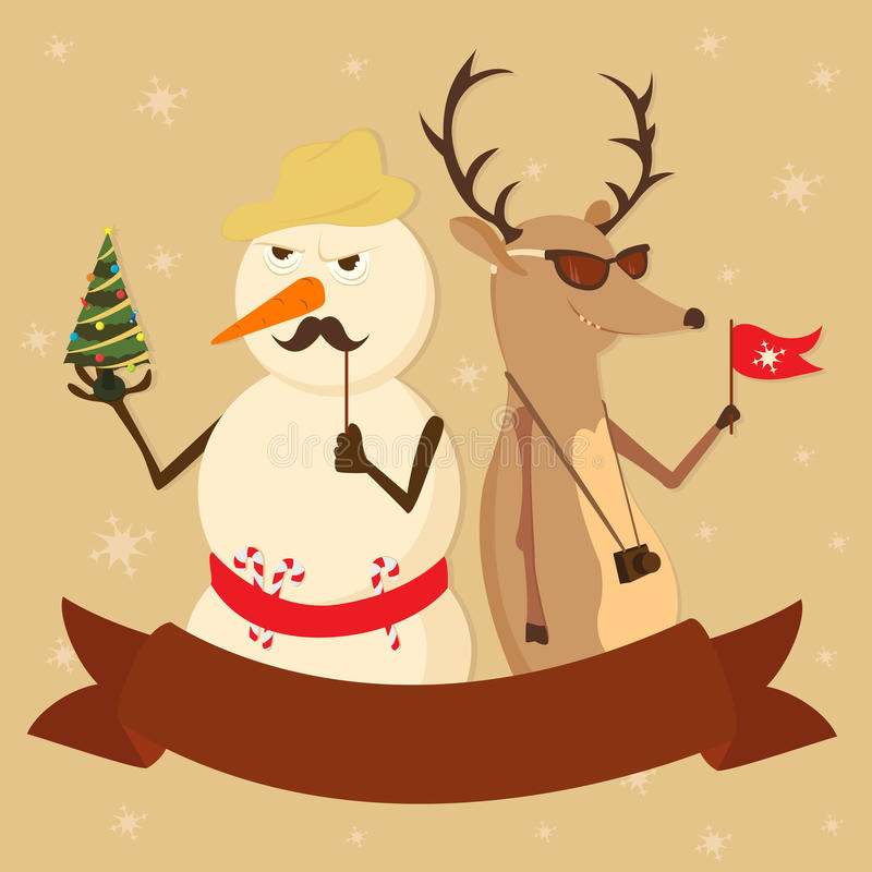 Couple snowman deer hipsters new Year fir-tree hol stock illustration