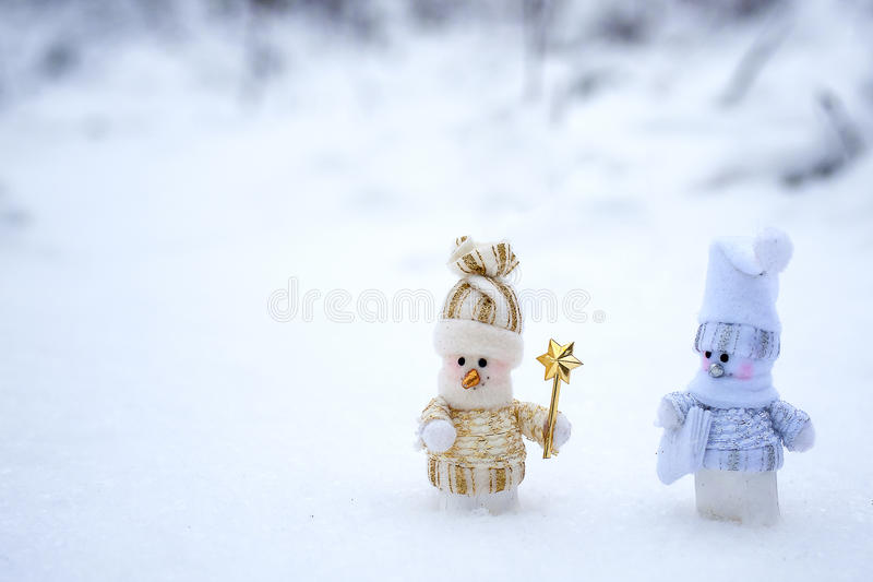 Couple of snowmen. In the winter woods royalty free stock photos