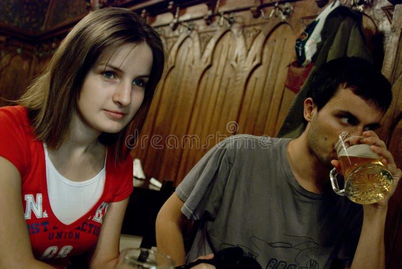 Couple socializing royalty free stock photo