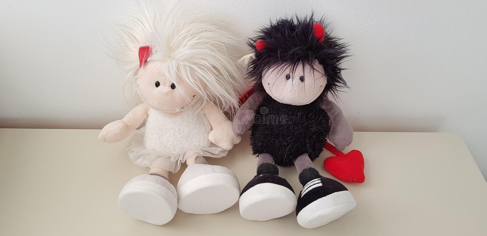 A couple of soft toys in love royalty free stock image