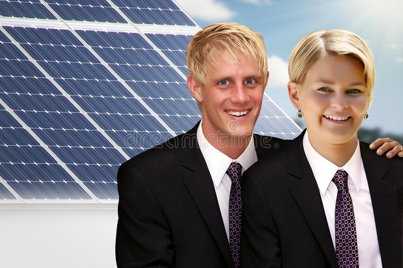 Couple with solar royalty free stock photography