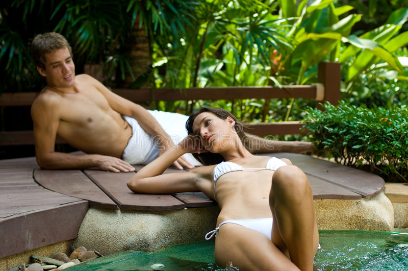 Couple At Spa stock images
