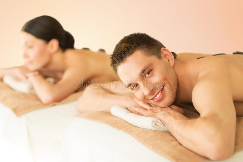 Download Couple In Spa With Hot Stones Royalty Free Stock Image - Image: 38067046