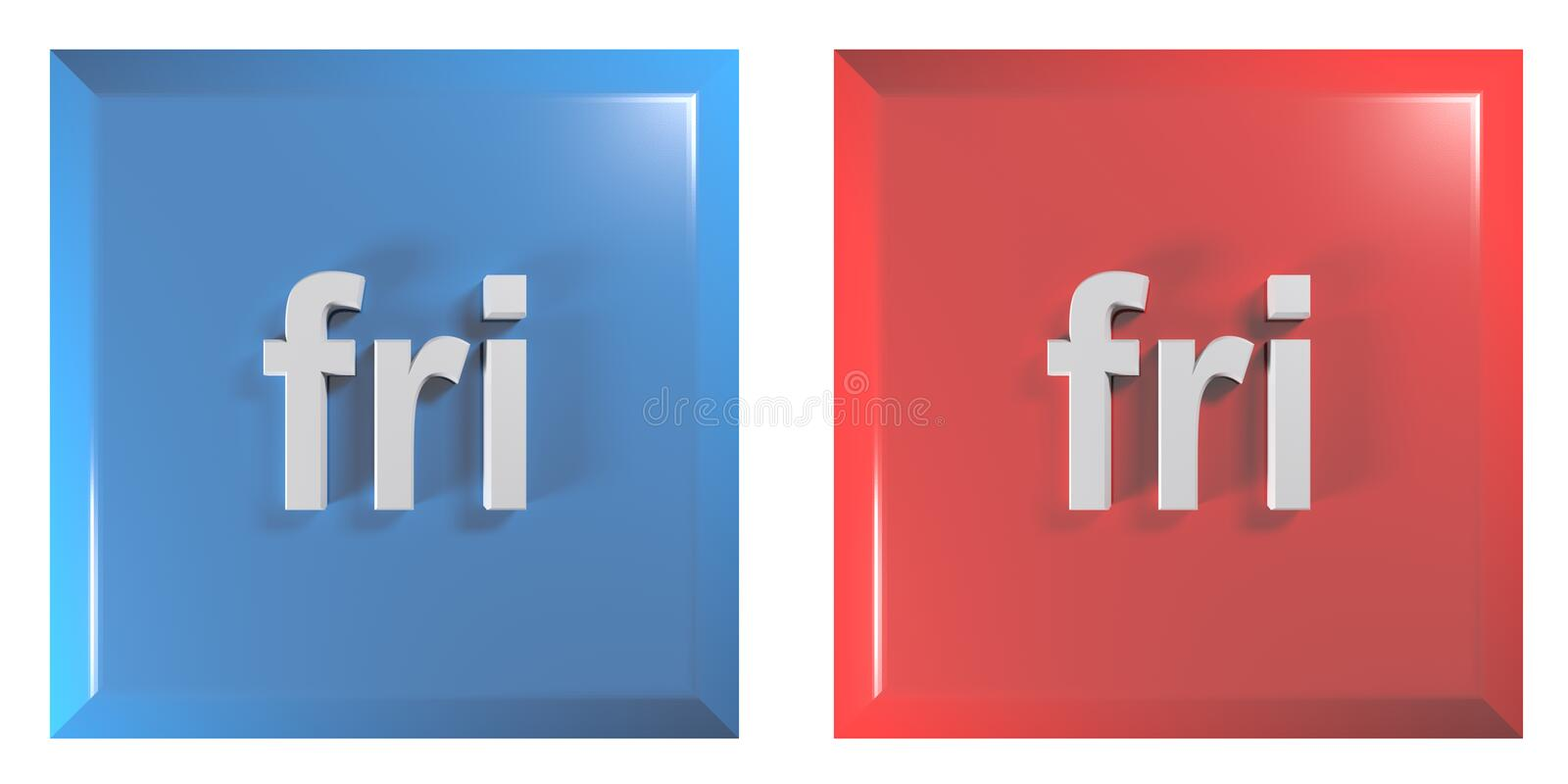 Blue and red couple of square push buttons FRIDAY - 3D rendering illustration. A couple of square push buttons, blue and red, isolated on white background, with royalty free illustration