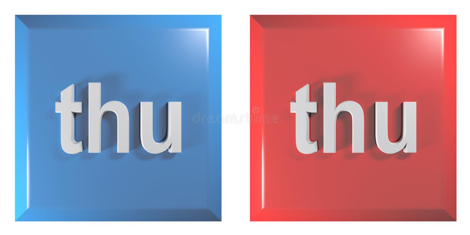 Blue and red couple of square push buttons THURSDAY - 3D rendering illustration. A couple of square push buttons, blue and red, isolated on white background vector illustration