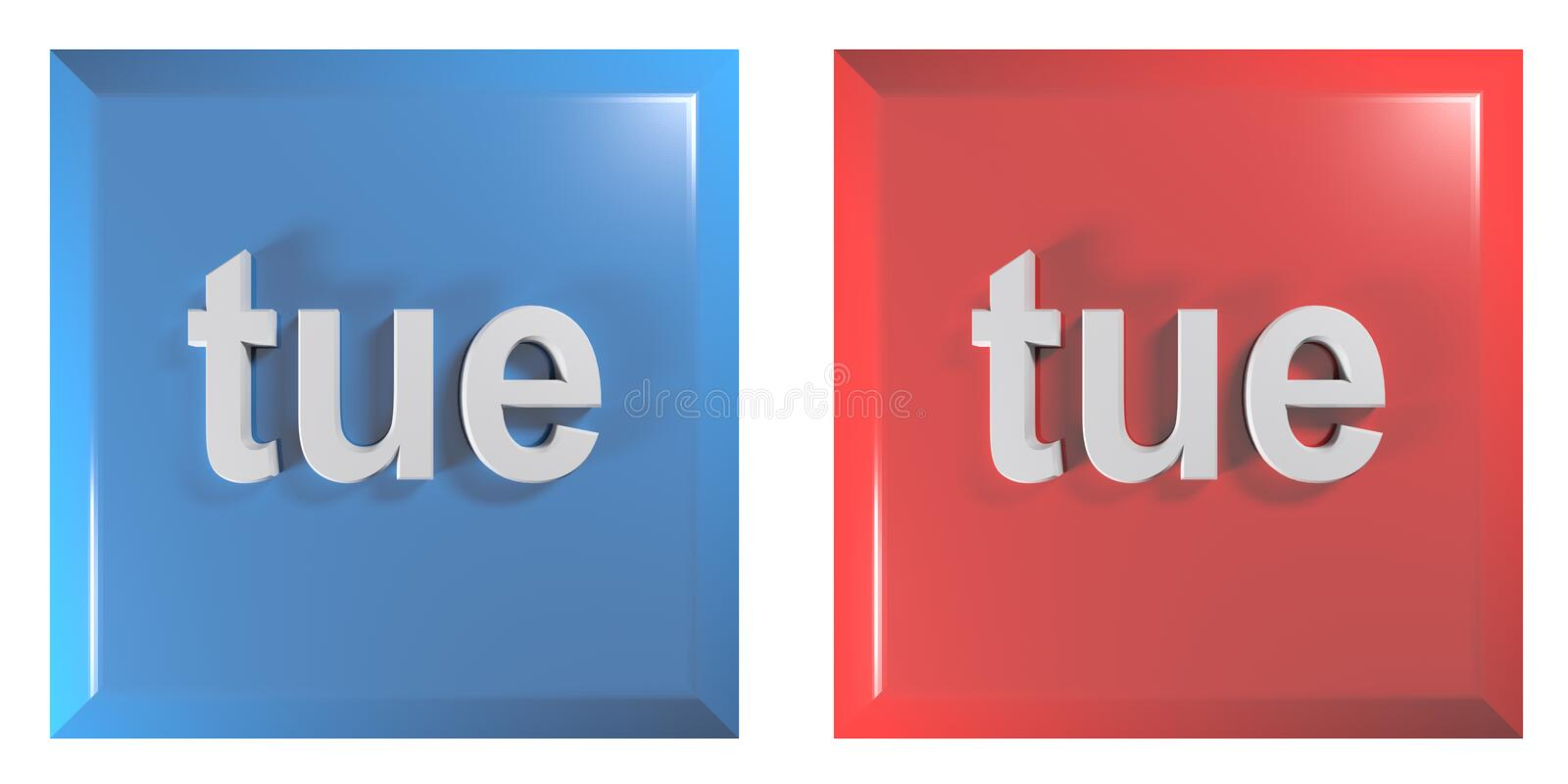 Blue and red couple of square push buttons TUESDAY - 3D rendering illustration. A couple of square push buttons, blue and red, isolated on white background, with stock illustration