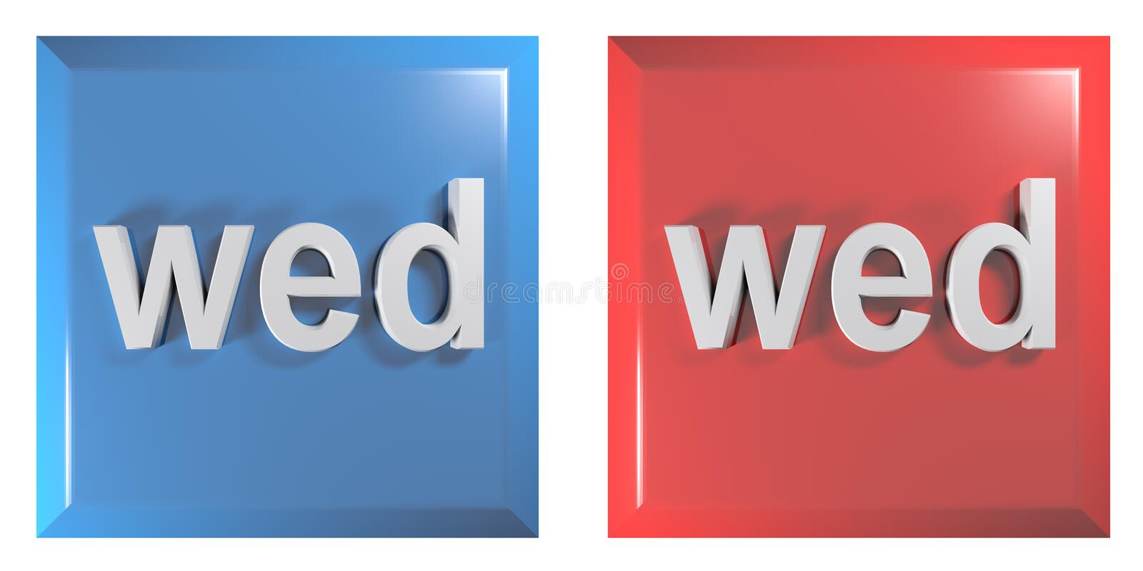 Blue and red couple of square push buttons WEDNESDAY - 3D rendering illustration. A couple of square push buttons, blue and red, isolated on white background royalty free illustration