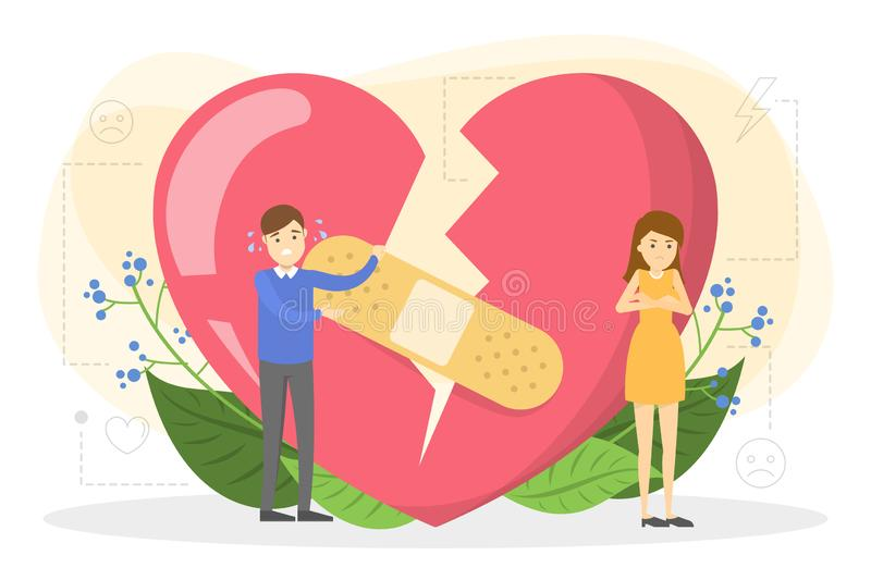 Couple standing at the big red broken heart. royalty free illustration
