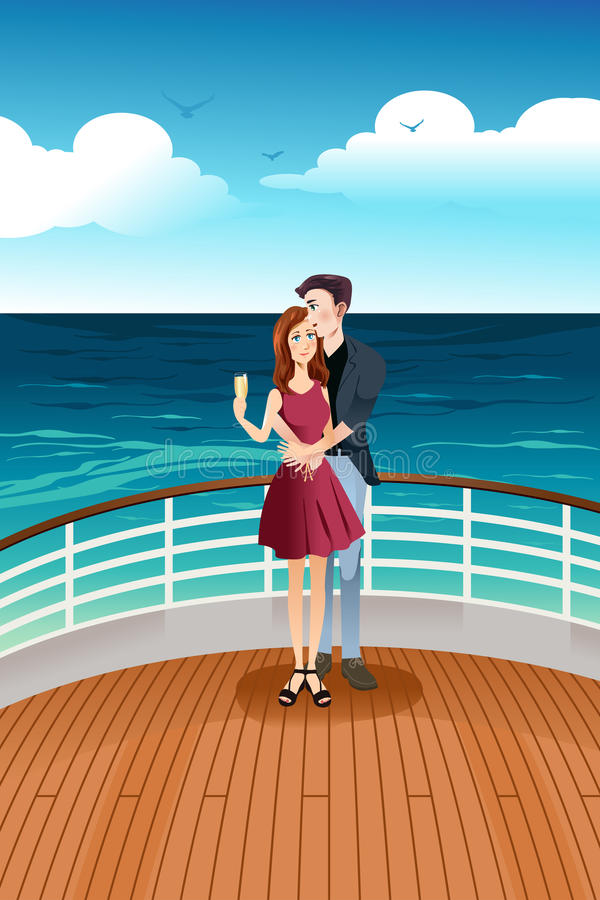 Couple Standing on Deck royalty free illustration