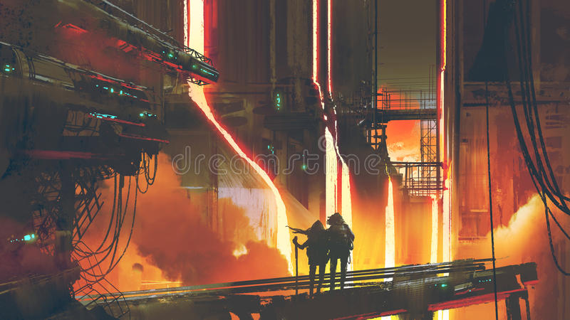 Couple standing in the futuristic foundry stock illustration