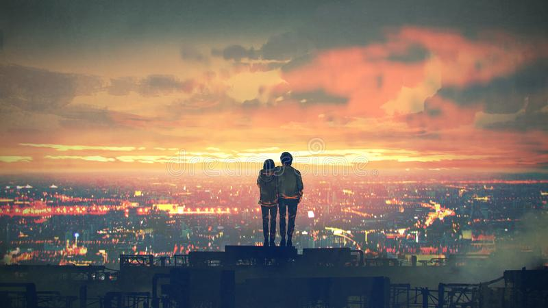Couple standing on the roof top. Young couple standing on the roof top looking at cityscape at sunset, digital art style, illustration painting stock illustration