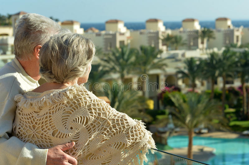 Download Couple standing on terrace stock photo. Image of elderly - 40006822