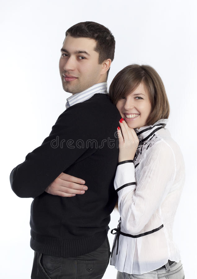 Couple standing together stock image