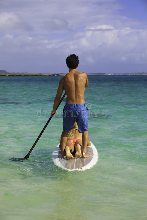 Couple On Standup Paddle Board Royalty Free Stock Photo