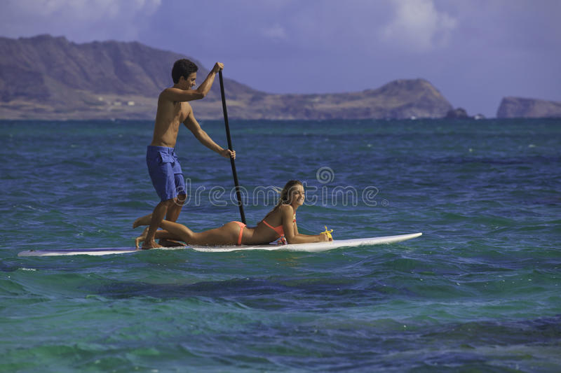 Download Couple On Standup Paddle Board Stock Image - Image of teamwork, pacific: 26151423