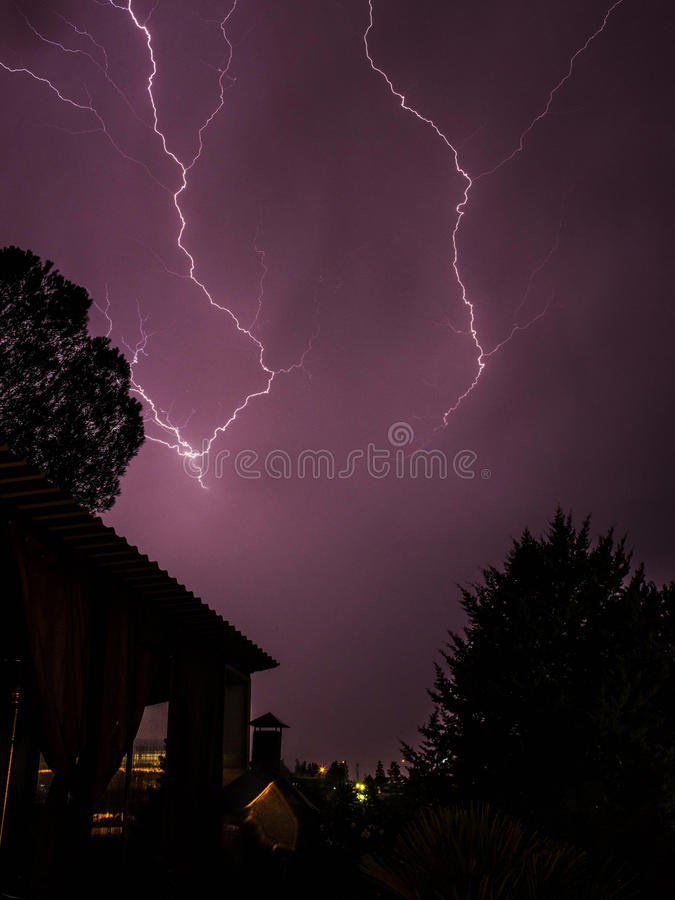 Couple in a stormy night royalty free stock image