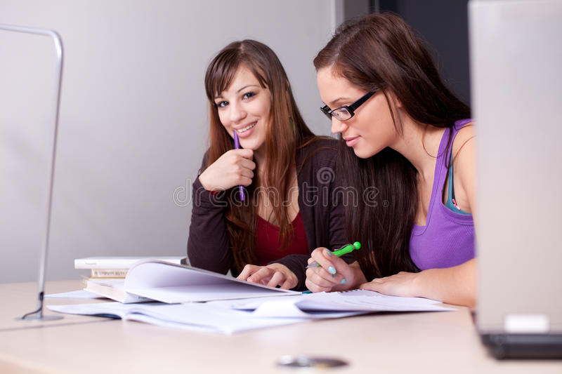 A Couple Of Students Studying Together Royalty Free Stock Image