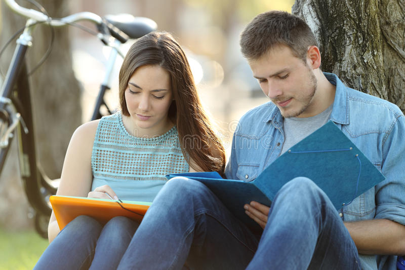 Couple of students studying together outside royalty free stock photography