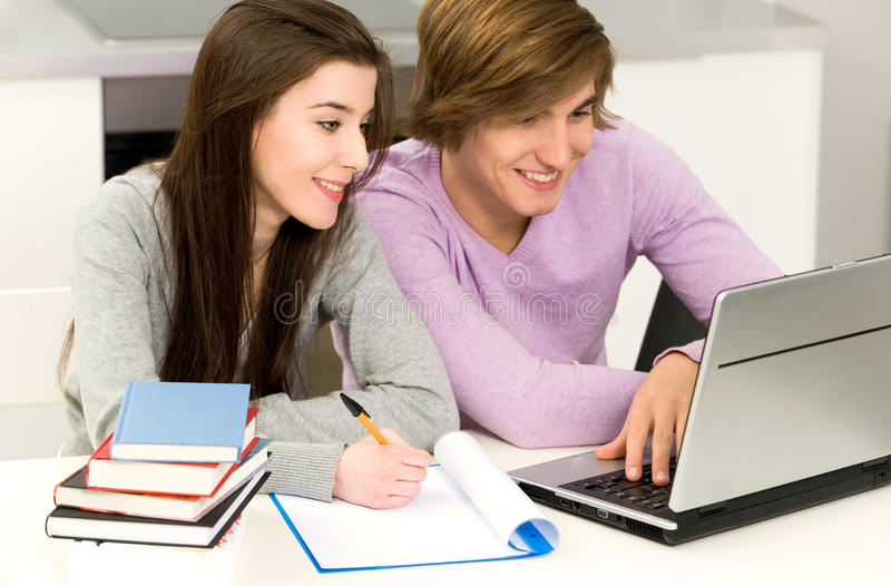 Download Couple studying stock image. Image of homework, female - 12758507