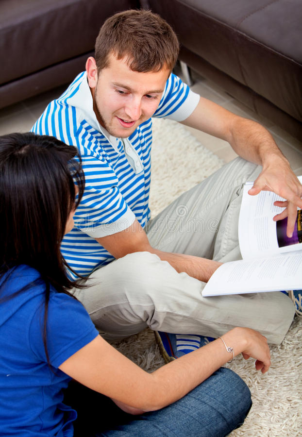 Couple studying at home