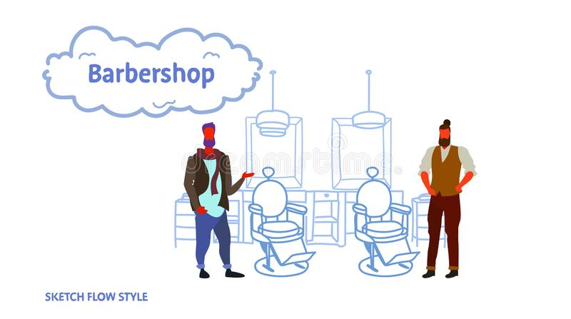 Couple stylish barbers standing near retro style haircut chair male hairdressers in hair salon modern barbershop. Interior sketch flow style horizontal vector stock illustration