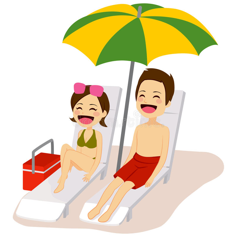 Couple Sunbathing Relaxing vector illustration