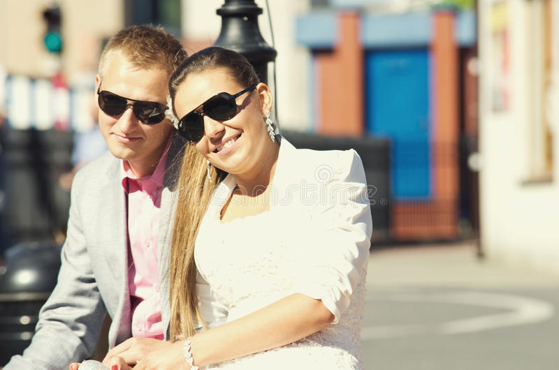 Couple with sunglasses stock image