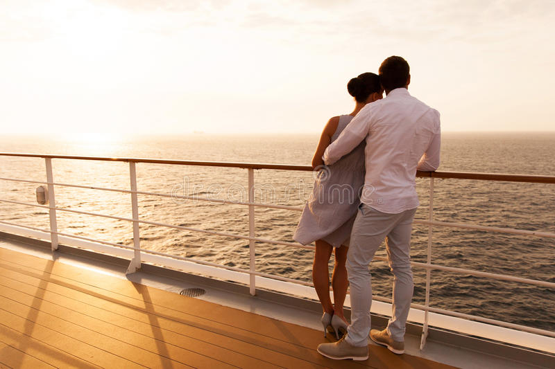 Couple sunset cruise stock photography