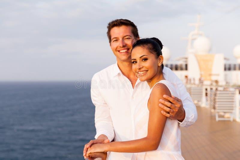 Couple sunset cruise stock image