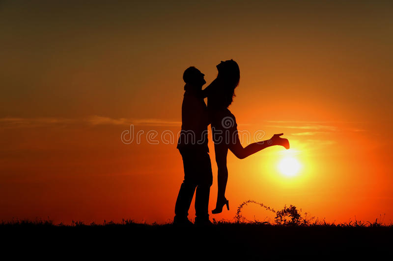 Couple at Sunset stock images