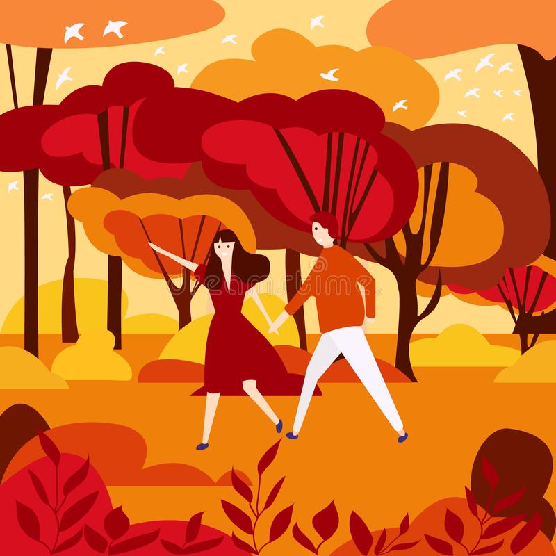Couple in sunset vector with mountains and warm royalty free illustration