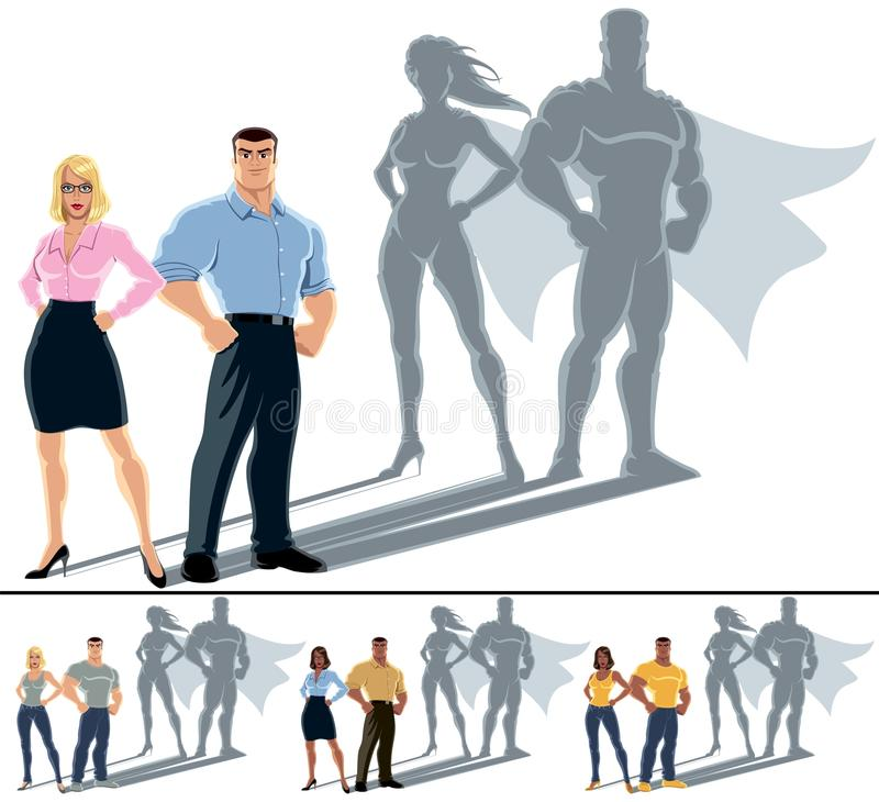 Couple Superhero Concept stock illustration