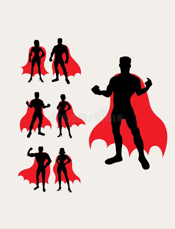 Couple Superhero Silhouettes stock illustration