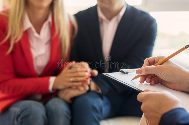 Husband and wife supporting each other at couple`s therapy royalty free stock image
