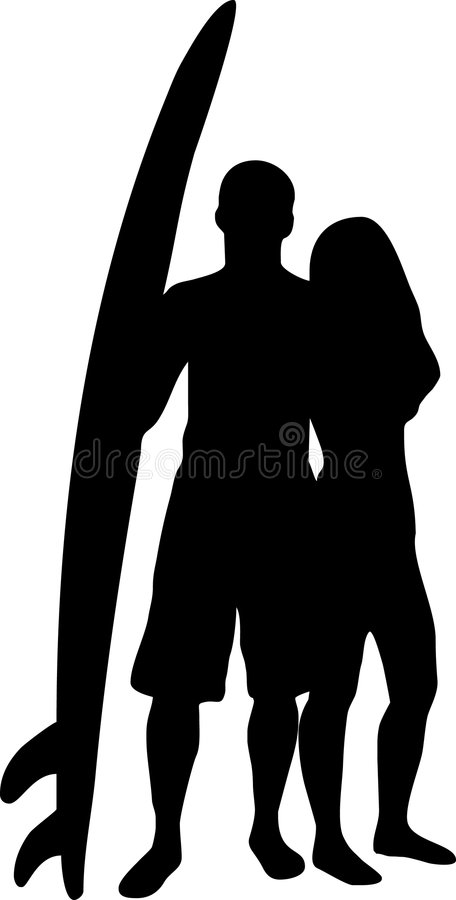 Couple With A Surf Board Royalty Free Stock Images