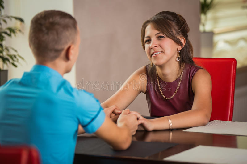 Couple at the table royalty free stock photo