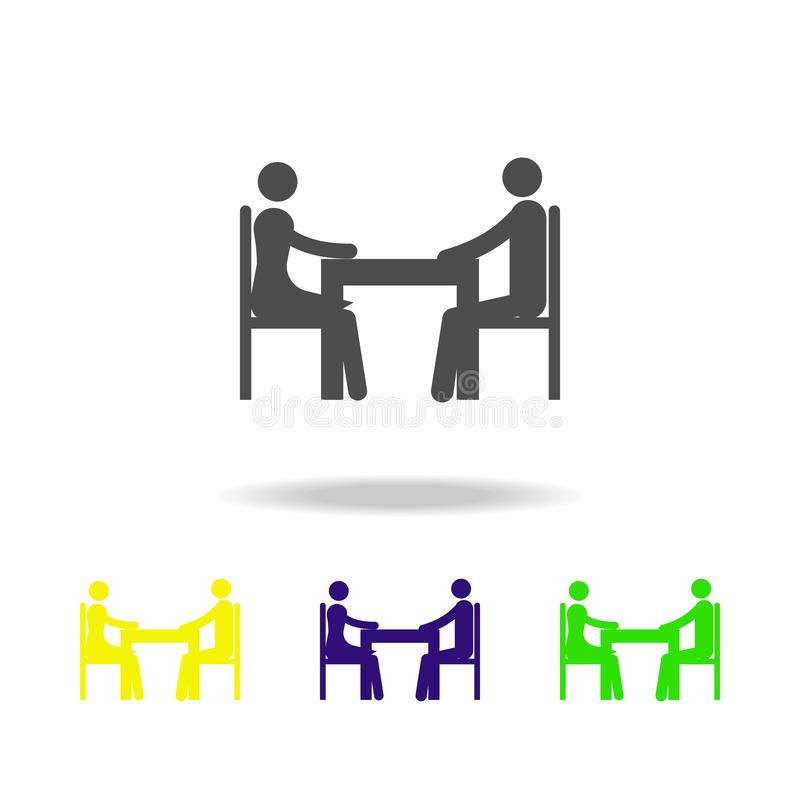 couple at table multi color icon. Element of travel icon for mobile concept and web apps, can be used for web and mobile. Premium royalty free illustration