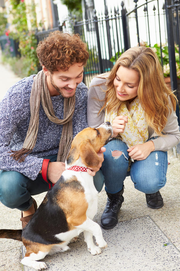 Couple Taking Dog For Walk On City Street. Kneeling Down Smiling stock photography