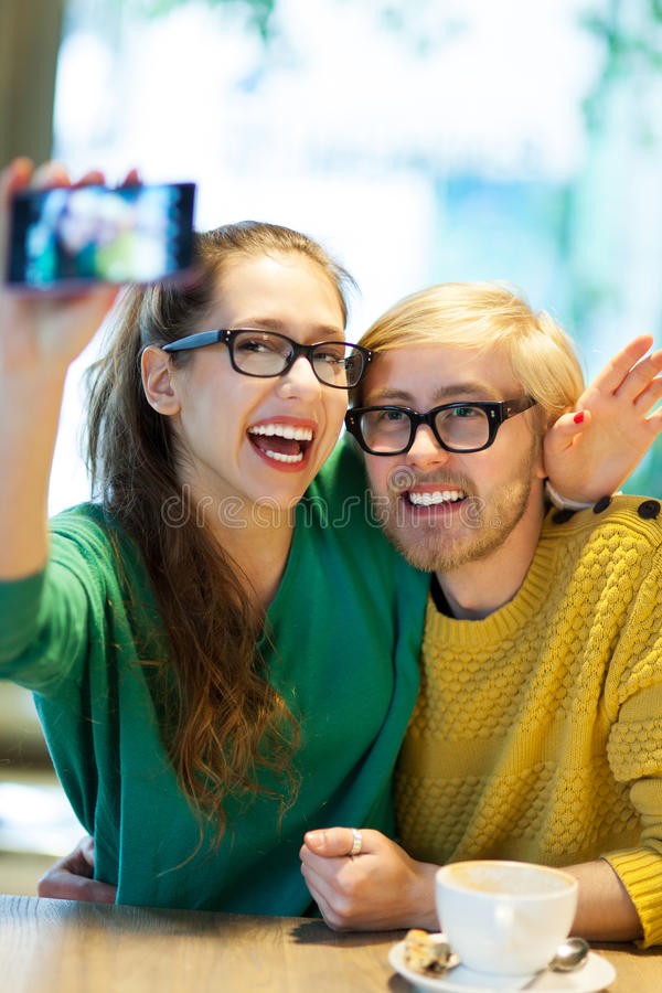 Download Couple Taking Self Portrait Stock Image - Image: 29691279