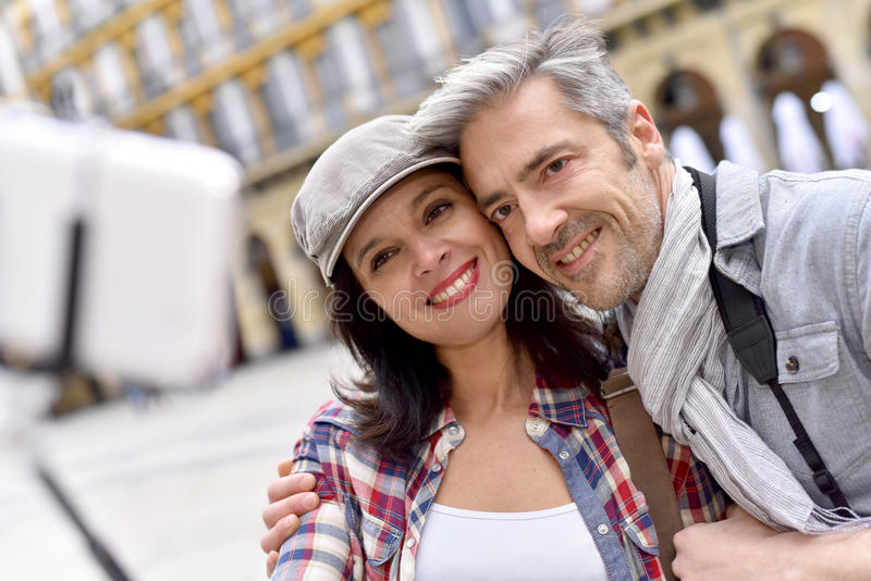 Couple taking selfie picture royalty free stock image