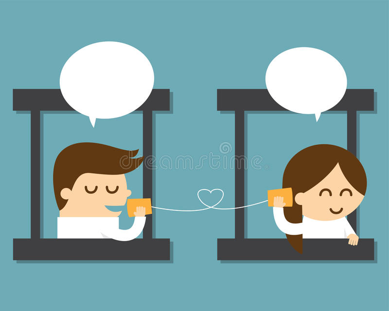 Couple talking with can telephone vector illustration