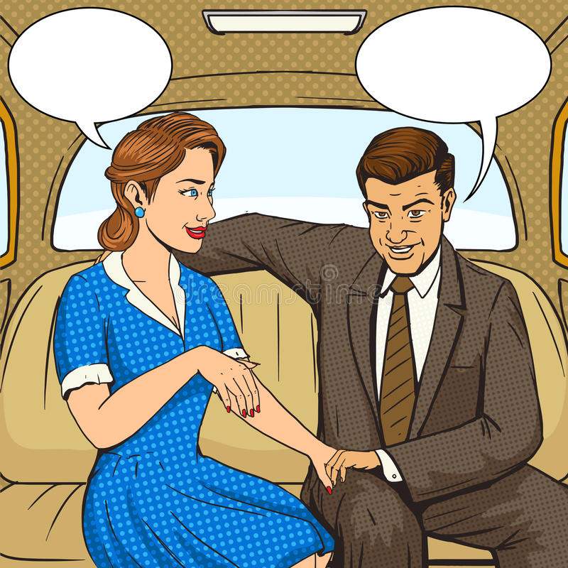 Couple talking in taxi pop art style vector vector illustration