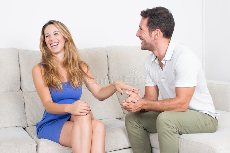 A couple talking. Tenderness between men and woman stock image