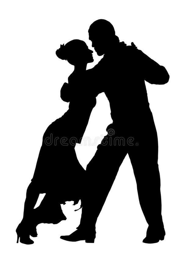 Couple of tango dancers silhouette royalty free stock photo