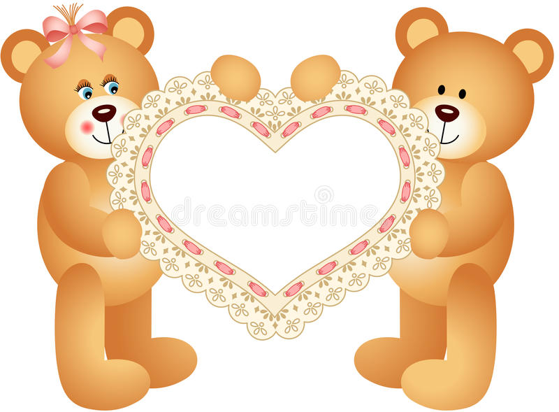 Download Couple Teddy Bear Holding Embroidered Heart Stock Vector - Image: 34949277