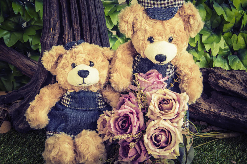 Couple teddy bears with rose in the garden stock image