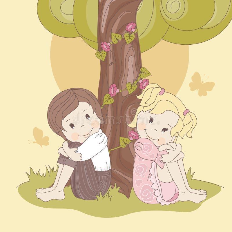 Couple  Teens Under Tree Stock Photo