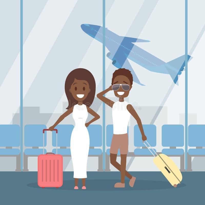 Couple at terminal. royalty free illustration