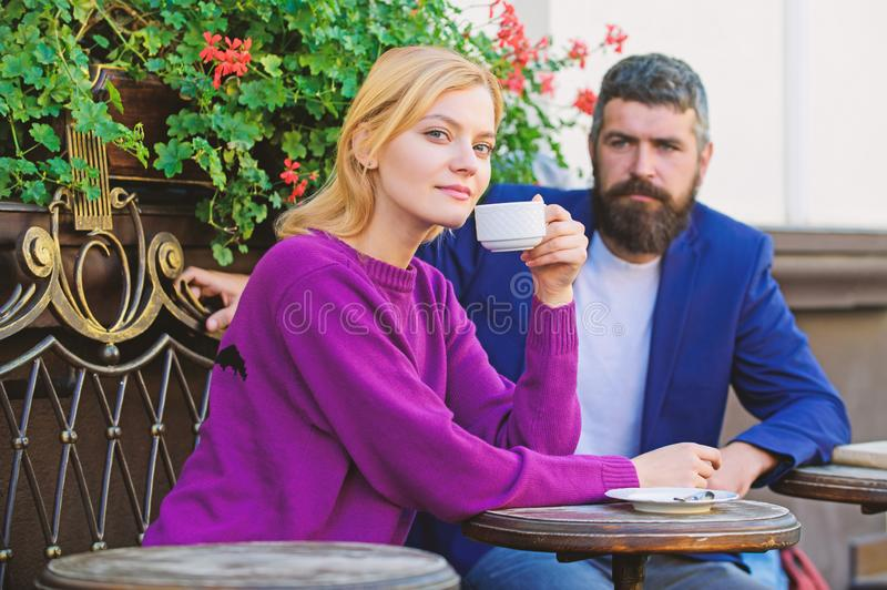 Couple terrace drinking coffee. Casual meet acquaintance public place. Meeting people first date. Strangers meet become. Acquaintances. Apps normal way to meet stock photo