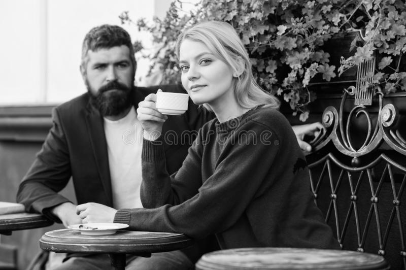 Couple terrace drinking coffee. Casual meet acquaintance public place. Meeting people first date. Strangers meet become. Acquaintances. Apps normal way to meet royalty free stock images